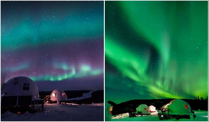 Кто откажется увидеть такую красоту собственными глазами, да еще в комфортных условиях? (Borealis Basecamp, Аляска)