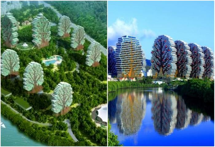 Это не концептуальный проект, а самый настоящий гостиничный комплекс из небоскребов-деревьев Sanya Beauty Crown Hotel Tower (Санья, Китай).