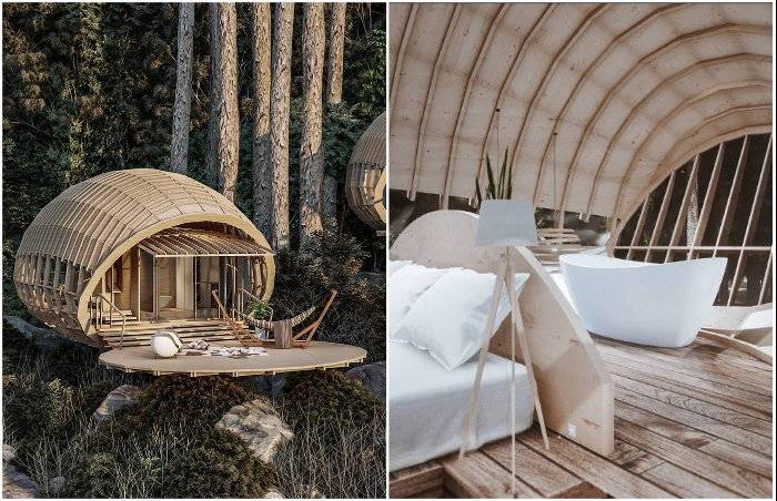 Умиротворенный отдых в номерах-коконах Cabins On The Mountain среди дикого леса (концепт студии Veliz Arquitecto).