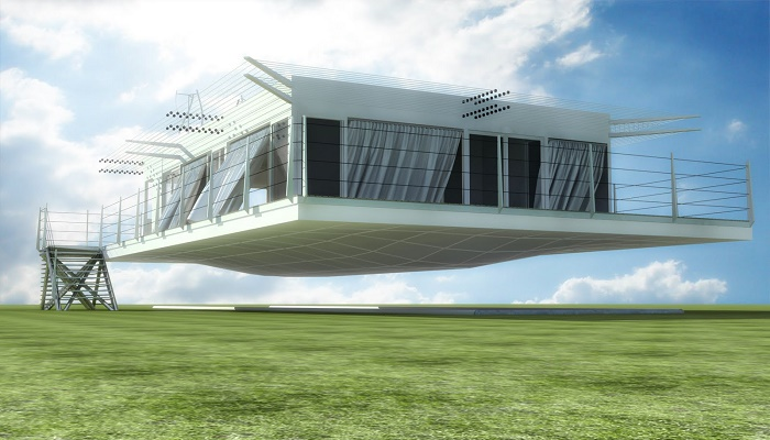 Внедрение инновационных технологий позволило создать «летающие» дома (концепт Air Danshin Systems). | Фото: arquitecturamagnetica.blogspot.com.