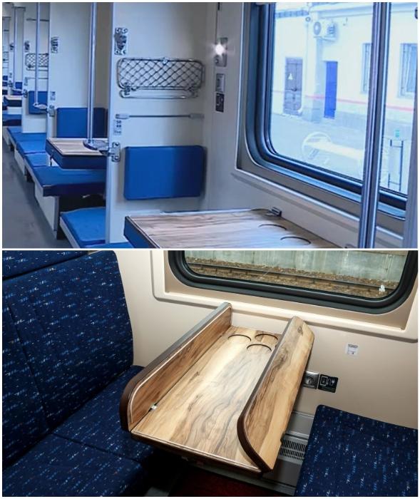 В купейных и плацкартных вагонах установлены столы-трансформеры нового образца.