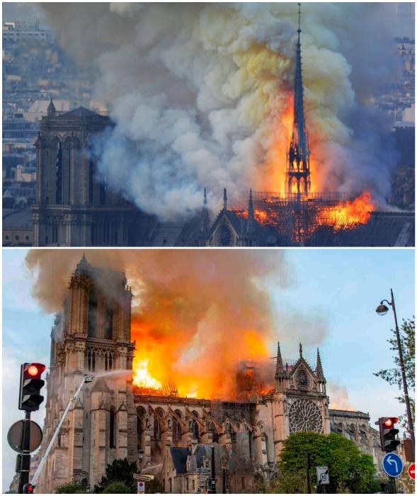Огнеборцам понадобилось 12 часов, чтобы остановить разбушевавшийся пожар (Notre-Dame de Paris, Париж).