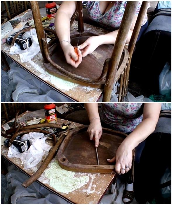 Перед началом реставрационных работ стулья нужно очистить от пыли и разобрать на детали.