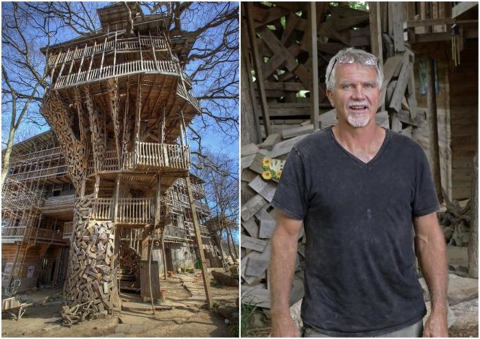 Гораций Берджесс построил на дереве гигантский дом площадью 900 кв. м (Кроссвилл, США).