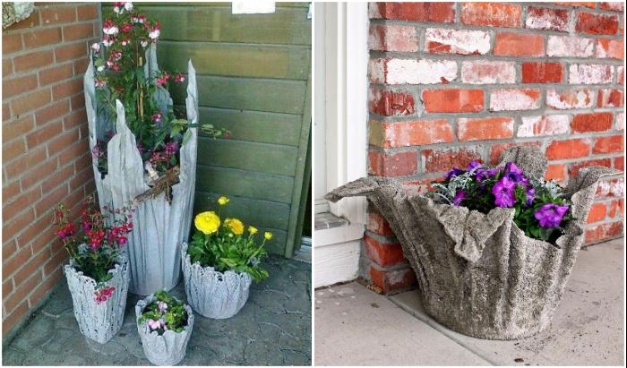 Из бетона и обычной тряпки или старого полотенца можно создать оригинальные вазоны.