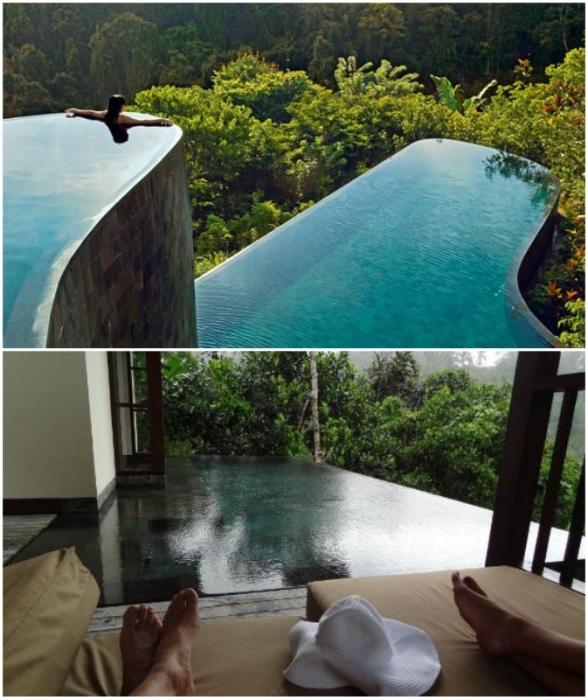 Возле каждой виллы имеется собственный панорамный бассейн с видами на живописные окрестности (Ubud Hanging Gardens, Бали).