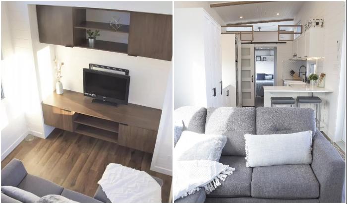 По желанию клиентов, Magnolia V8 может поставляться вместе с мебелью и техникой (наполнение гостиной). | Фото: treehugger.com.