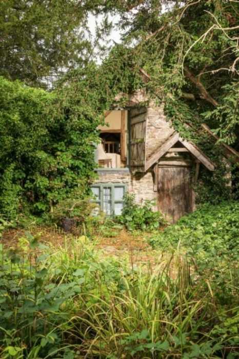 За 600 лет старинная постройка в прямом смысле слов сжилась с окружающей природой («Wishbone Cottage», Великобритания). | Фото: uniquehomestays.com.