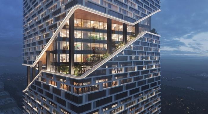 Небоскреб с высаженными по диагонали фасада садами станет комфортным местом работы для сотрудников Vivo (концепт NBBJ). | Фото: archiposition.com.