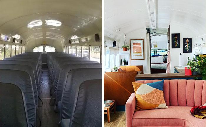 Фотография интерьера школьного автобуса, сделанная до и после (Adelita). | Фото: bigpicture.ru.