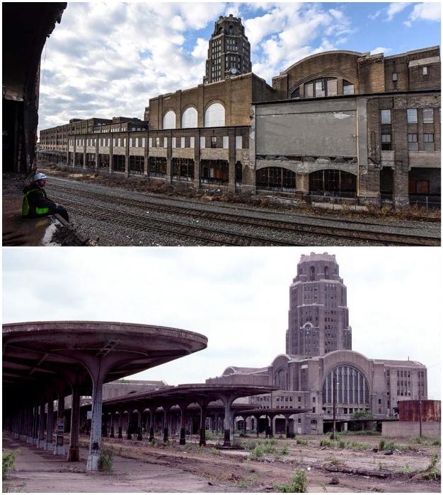 На некогда оживленных платформах центрального терминала Buffalo Central теперь гуляет лишь ветер и растет трава (США).