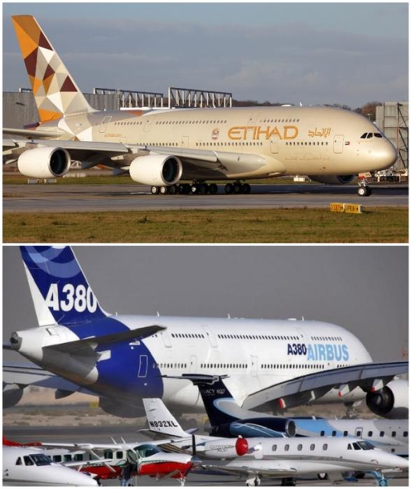 Аэробус А-380 – самый большой пассажирский авиалайнер мира (на фоне других самолетов).