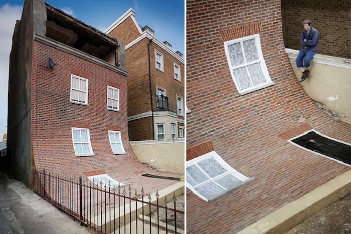 Alex Chinneck решил дать вторую жизнь старинному дому, идущему под снос (Магрит, Великобритания).