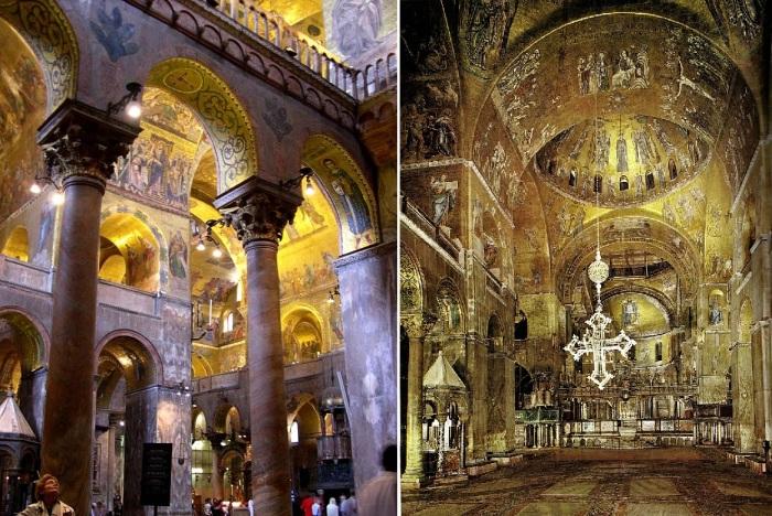 Величие и богатство внутреннего убранства поражает St. Mark's Basilica по сей день (Венеция, Италия).