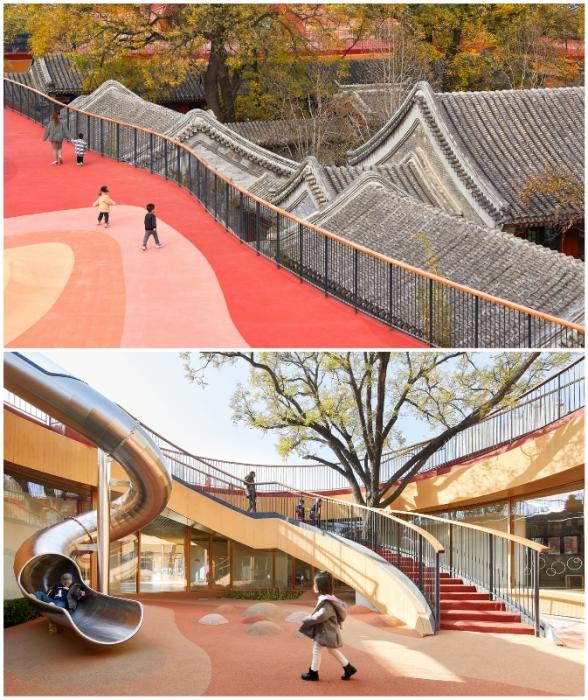 Волнистая крыша образует своего рода марсианский ландшафт, заинтересовывая детей бегать, играть и общаться (YueCheng Courtyard Kindergarten, Пекин).