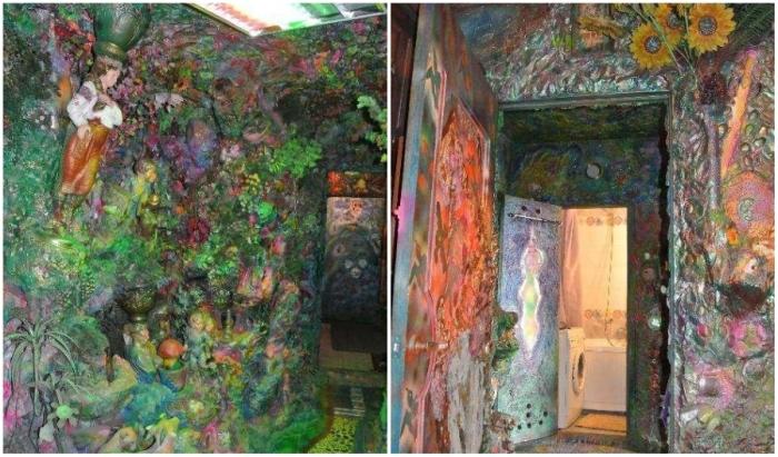 Сказочно-цветочные мотивы украшают все стены комнат, хотя ванная осталась нетронутой (Киев, Троещина).