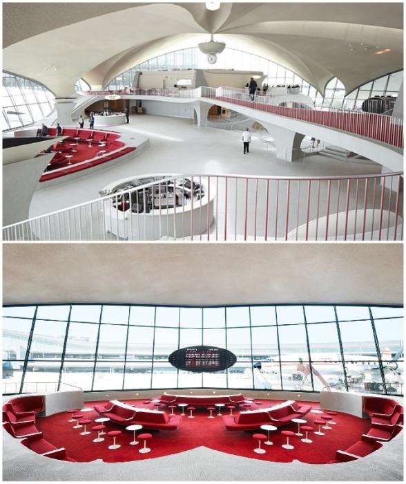 «Текучие» формы, плавные линии и открытость интерьера TWA Flight Center стали эталонными элементами при организации внутреннего пространства всех современных аэропортов (Нью-Йорк, США).