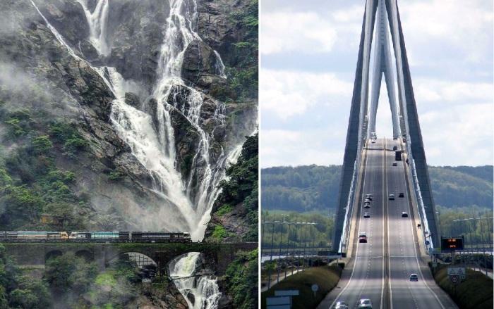 Дорога не для слабонервных (водопад Дудхасагар в Индии, Pont De Normandie во Франции).