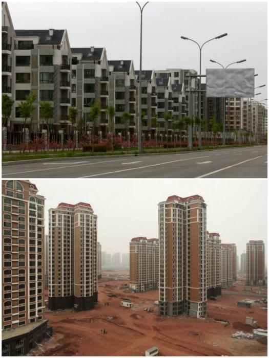 Современный, благоустроенный город так и не дождался новых жителей (Kangbashi, Китай).