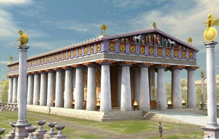 Храм Зевса – крупнейшее сооружение Древней Греции (цифровая визуализация). | Фото: kusadasiephesustours.com.