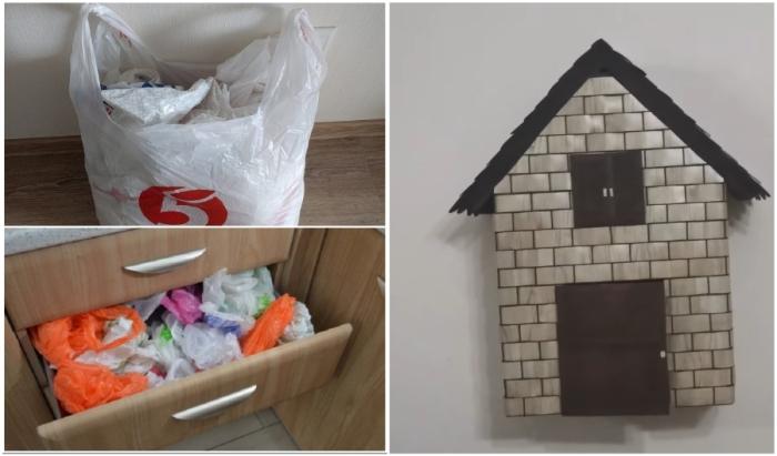 Проблему хранения пакетов на кухне можно решить оригинальным способом.