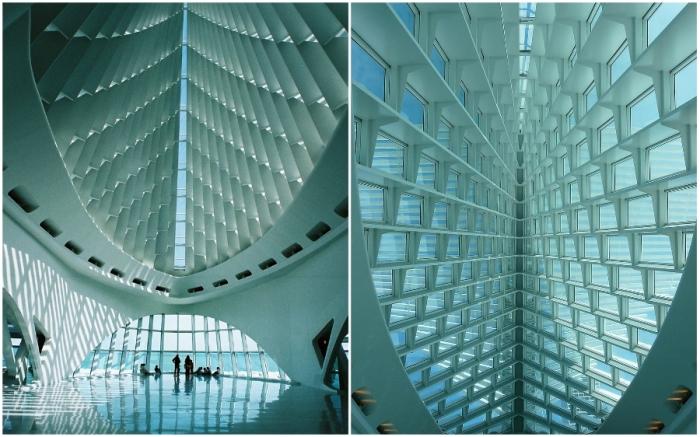 Подвижные крылья образуют тень внутри музея (The Milwaukee Art Museum, США).