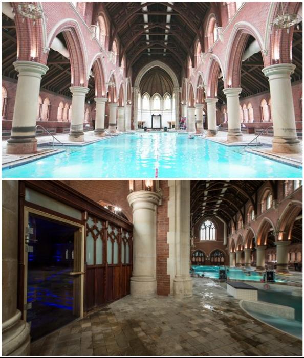 Теперь в главном зале церкви можно поплескаться в бассейне, а в исповедальне – попарить косточки (Repton Park, Великобритания).