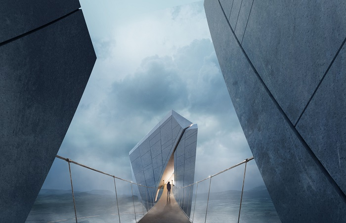 Изящный подвесной мост над глубоким ущельем символизирует хрупкость мира (концепт Anchor of the Plates). | Фото: 00-group.cn.