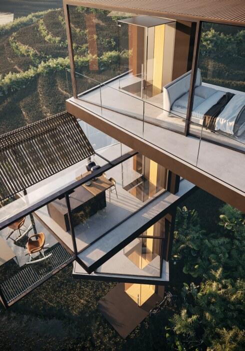 Шахта лифта будет служить украшением и ультрасовременным элементом в конструкции загородной резиденции (концепт House on the Rice Paddy). | Фото: designboom.com.