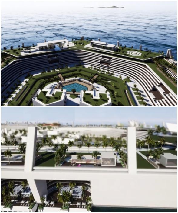 Самый «зеленый» остров планеты ждет своих жителей, но пока существует лишь на бумаге и визуализациях (концепт Blue Estate).