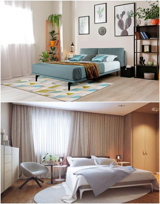 Для спальни лучше выбирать небольшие ковры или дорожки без ворса.