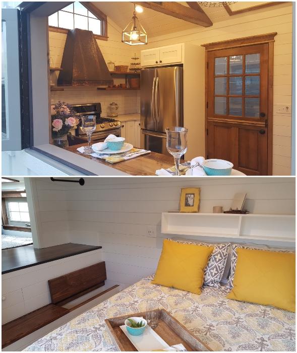 Оригинальный дизайн кухонной зоны и спальни с комнатой отдыха на высоком подиуме, в котором имеются системы хранения (Phoenix, США).
