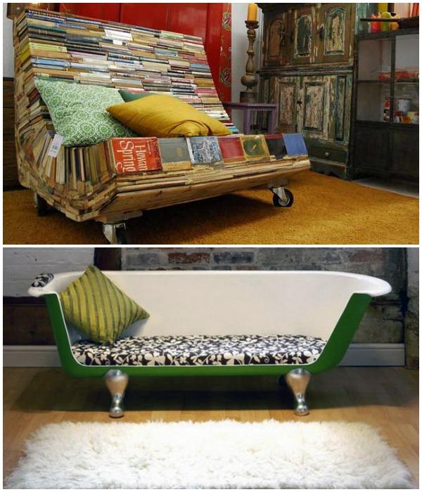 Самые неожиданные вещи и предметы можно превратить в оригинальный диван.
