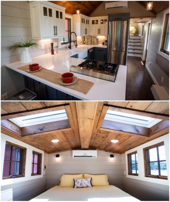 Два уровня окон и световые люки на крыше обеспечивают идеальным освещением и обзором, если домик установить на лоне природы (Denali XL, США).