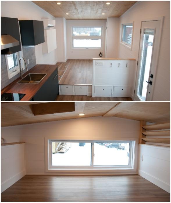 Гостиная организована на подиуме, а просторная спальня – на чердачном уровне (Noyer XL, Канада).