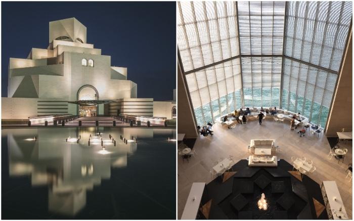 Воды Персидского залива подчеркивают красоту внешних форм и создают особую атмосферу внутри здания (Museum of Islamic Art in Doha, Катар).
