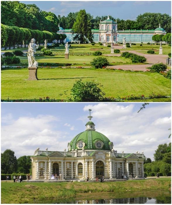 Пейзажный парк, мраморные скульптуры, пруды и лужайки стали прекрасным дополнением к архитектурному ансамблю (Кусково, оранжерея и павильон «Грот»).