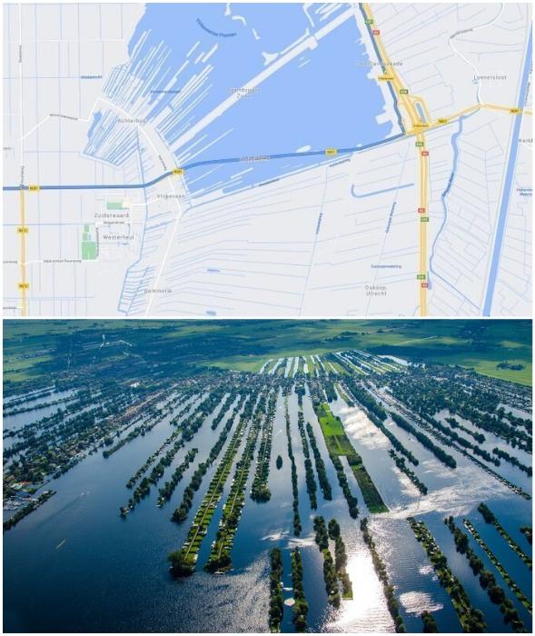 Если посмотреть из космоса или высоты птичьего полета, то можно увидеть странную картину (Vinkeveense Plassen, Нидерланды).