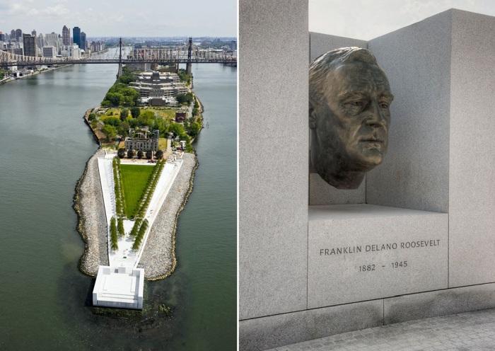 Идеальная аллея славы ведет к памятнику Теодора Рузвельта, находящемуся на одноименном острове (Four Freedoms Park, Нью-Йорк).