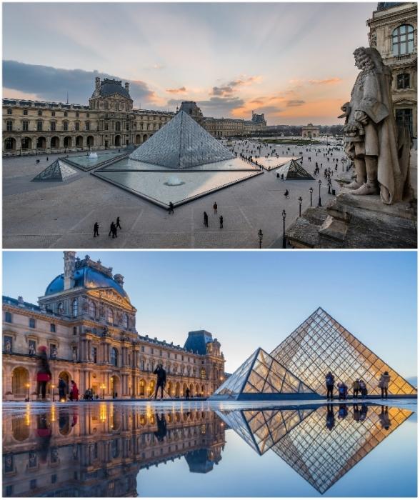 Стеклянная пирамида Лувра – один из самых узнаваемых культурных объектов Парижа (Франция).