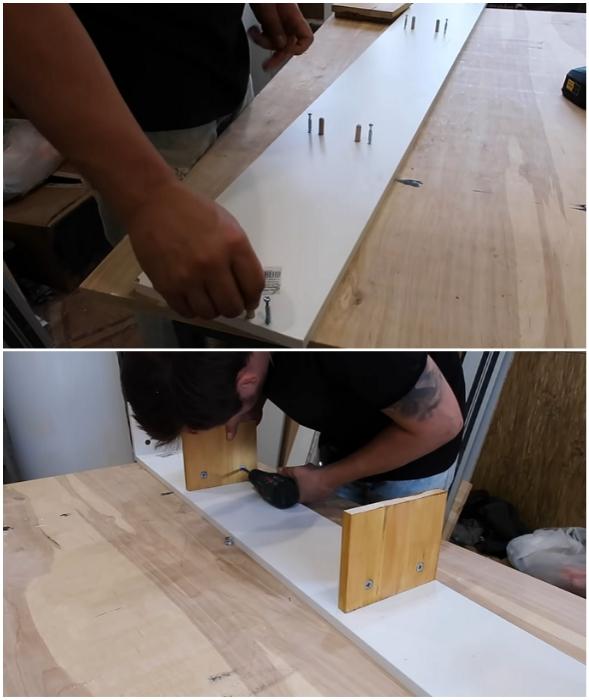 При сборке полки лучше использовать мебельные крепежные элементы.