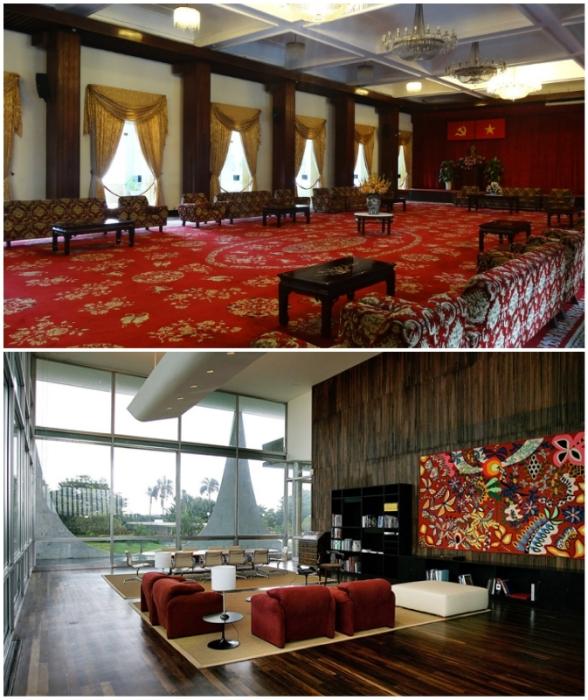 Интерьер может похвастаться образцами национальной вьетнамской культуры и предметами изобразительного искусства (Presidential Palace in Hanoi).
