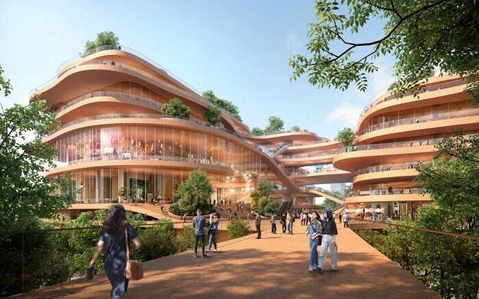 Многоуровневые здания органично сочетаются с парковой зоной (Shenzhen Terraces, Китай). | Фото: mymodernmet.com.