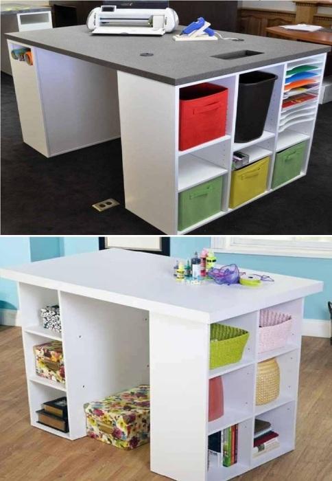 Ширина будущего рабочего стола зависит от габаритов стеллажных систем Ikea.