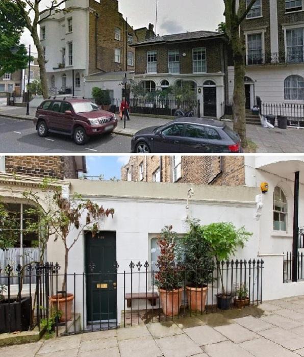 Несмотря на крошечные габариты микро-дома впереди него имеется даже придомовая территория (Ричмонд-авеню, Лондон).