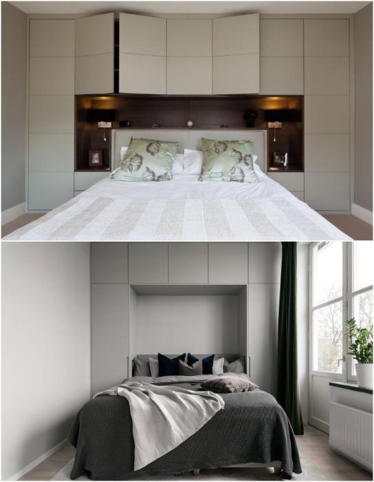 Шкафы у изголовья – лучший вариант для спальных комнат.