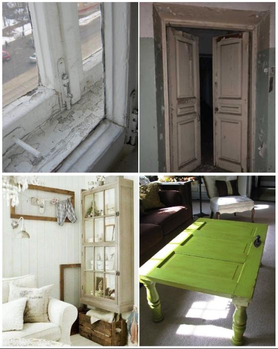 Старые окна и двери также могут вдохновить на создание оригинальных предметов мебели.