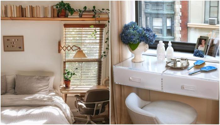 Подоконник, превращенный в туалетный столик – идеальное место для организации бьюти-зоны.