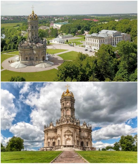 Это единственный случай, когда церковь полностью затмила усадьбу в имении («Усадьба Дубровицы», Подмосковье).