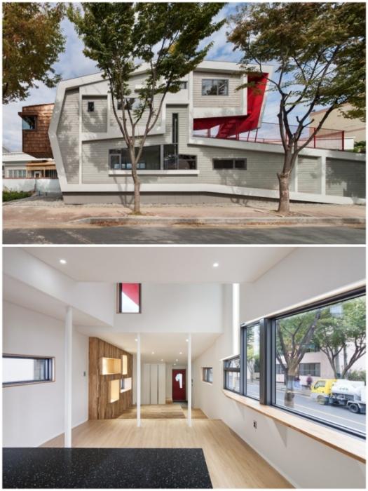 Динамика строения подчеркивается и формой здания, и нестандартными окнами разных размеров и конфигурации (Roll House, Мирян).